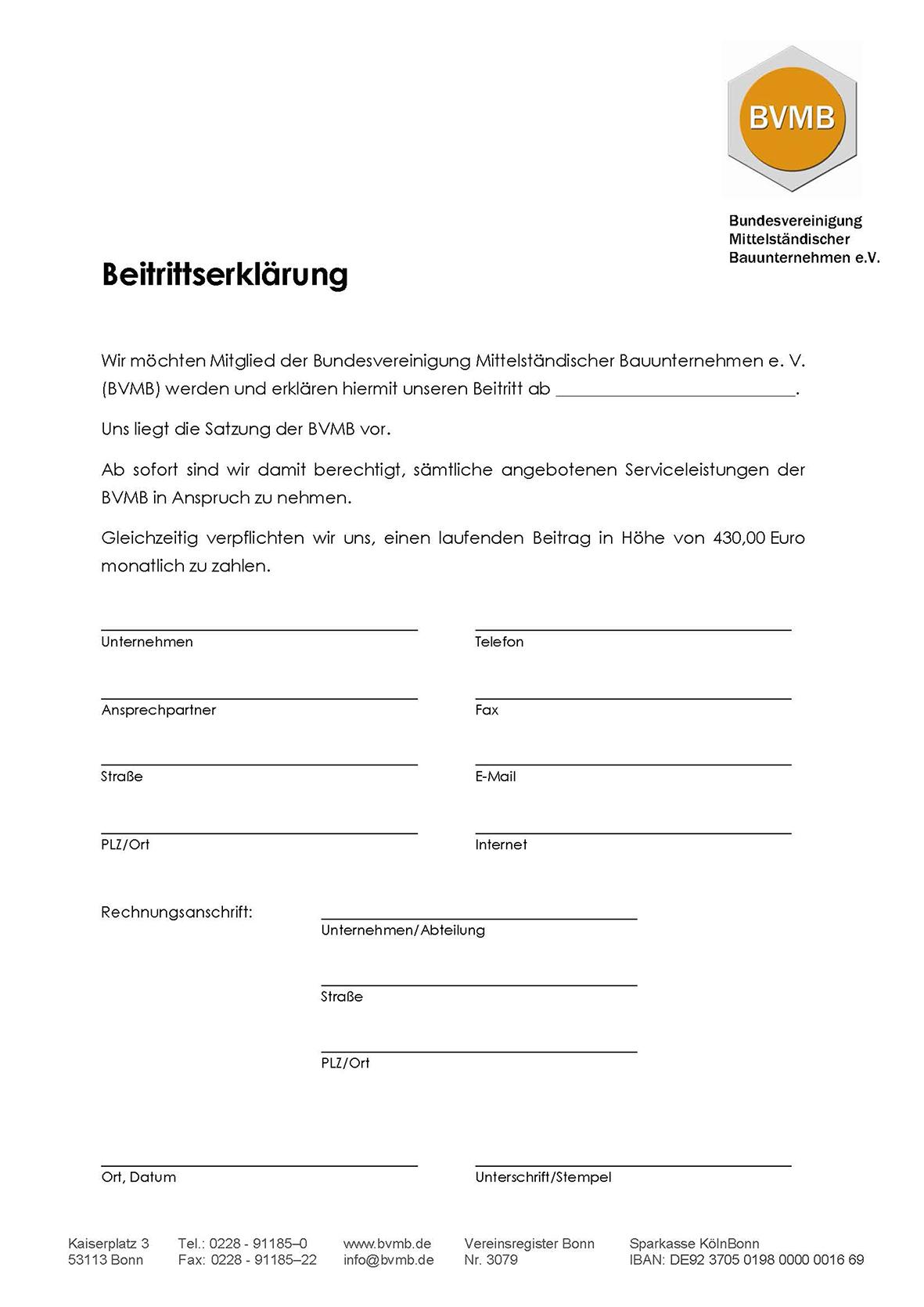 Bauunternehmen Bonn bvmb satzung beitritt